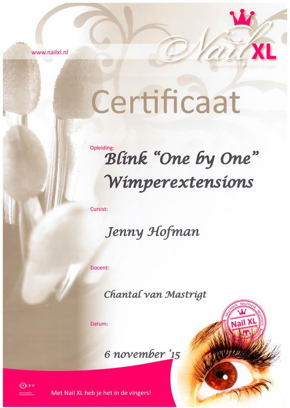 Certificaat Wiimperextensions Nagelstudio Gasselte